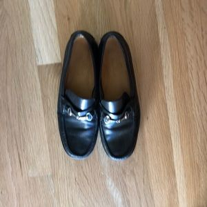 ColeHaan Black Leather Shoes with silver chain